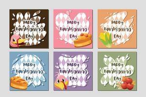 cartão de feliz dia de ação de Graças com peru, abóbora e torta. vetor