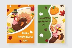 cartão de ação de graças com peru, abóbora e folhas de plátano vetor