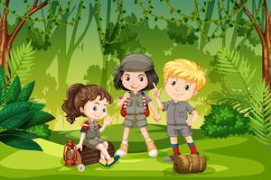 Três, scout, crianças, em, a, selva vetor