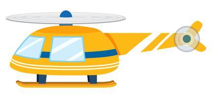 Um helicóptero amarelo no fundo branco vetor