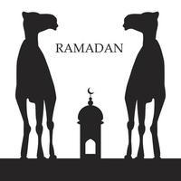 saudação do ramadã com camelo vetor