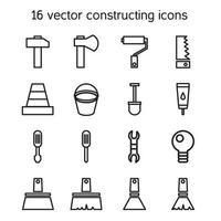 construção e construção de conjunto de ícones vetor