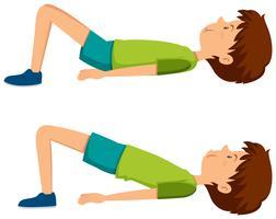 Menino, fazendo, quadril, exercícios vetor