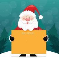cartão de feliz natal com o papai noel segurando uma placa e em pé na neve com um fundo de pinheiro vetor