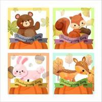 cartão de feliz dia de ação de graças com esquilo, urso, coelho e veado vetor