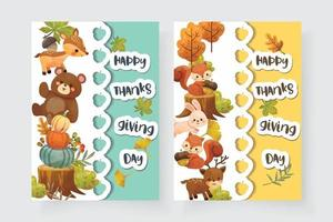cartão de feliz dia de ação de Graças com esquilo, urso, coelho e veado. vetor