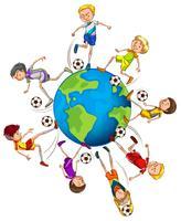 Meninos jogando futebol ao redor do mundo vetor