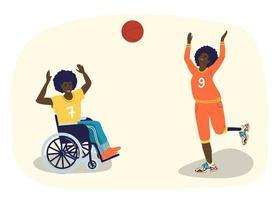 pessoas com deficiência jogam basquete. adolescentes afro-americanos com deficiência jogam basquete. um cara em uma cadeira de rodas. uma garota com uma perna protética. ilustração de desenho vetorial vetor