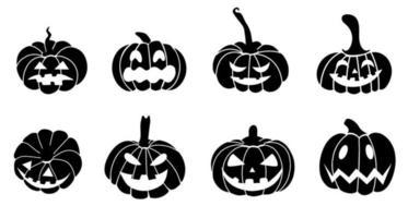 silhueta de abóbora preta - definida para o dia das bruxas. a abóbora assustadora assustadora é um símbolo de halloween. ilustração vetorial.design para impressão, convites, cartões postais, embalagens, publicidade, banners vetor