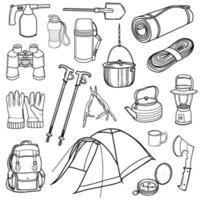 equipamento turístico e de campismo. caminhadas, viagens. um conjunto de elementos para camping. ilustração vetorial no estilo doodle. design para adesivos, impressão, revistas, blogs vetor