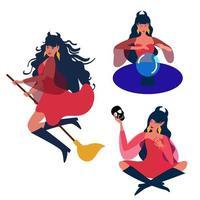 bruxa linda. design para o dia das bruxas, convites, cartões, cartazes, banners, publicidade. ilustração em vetor plana. ilustração vetorial