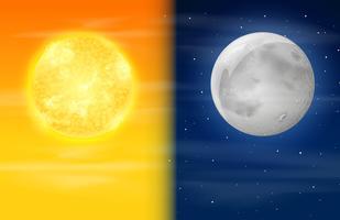 Dia e noite no céu vetor