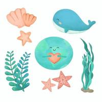 mão desenhando a vida animal no fundo do mar no conceito do Dia da Terra vetor