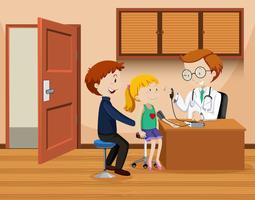 Pai e filha conhecer médico vetor