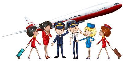 Tripulações de companhia aérea e avião a jato vetor