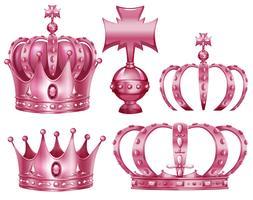 Design diferente de coroas na cor rosa vetor