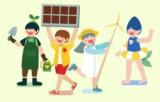 as crianças usando energia renovável da natureza vetor