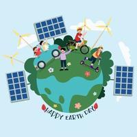 as crianças usando energia renovável para salvar o vetor mundial