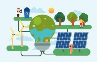 as crianças usando energia renovável vetor do dia da terra
