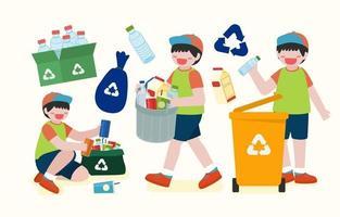 crianças ajudam a coletar garrafas plásticas em vetor de lixeiras
