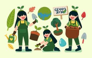 linda garota ajuda a plantar árvores no vetor feliz dia da terra