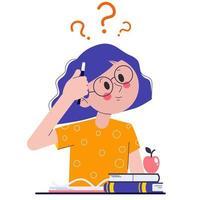 uma estudante em sala de aula ou em uma prova pensando em como fazer sua lição de casa ou deveres. a garota está pensando nisso. ilustração vetorial plana com pontos de interrogação. vetor