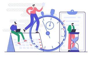 conceito de gestão e planejamento eficazes do tempo. organização do fluxo de trabalho. ilustração vetorial plana vetor