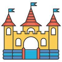 castelo inflável inflável. torre e equipamentos para playground infantil. ilustração de linha vetorial vetor
