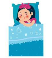 garota dormindo na cama depois de uma festa do pijama. uma garota com uma aparência oriental. ilustração vetorial. vetor