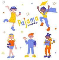 festa do pijama conjunto de meninas e meninos em kigurumi e macacões. personagens planos celebrando o feriado. crianças se divertindo no pijama. ilustração vetorial para convite vetor