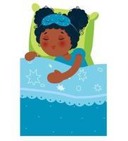 garota afro-americana dormindo na cama depois de uma festa do pijama. ilustração vetorial. vetor