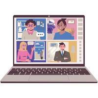 comunicação online com amigos e colegas. videoconferência remota. captura de tela de uma tela de laptop. ilustração vetorial. vetor
