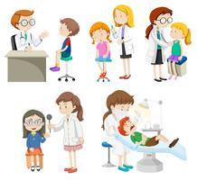 Médicos dando tratamento aos pacientes vetor