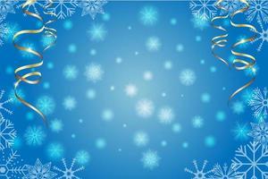 fundo azul do inverno com flocos de neve e serpantina dourada. ilustração de Natal e ano novo. vetor