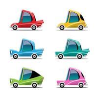 conjunto de pacote de carro adorável em vetor de personagem de desenho animado