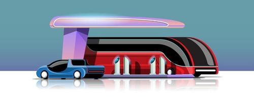 ônibus elétrico e automóvel carregando na estação de energia da garagem vetor
