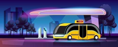 O estilo moderno de táxi elétrico está carregando na estação de energia da garagem vetor