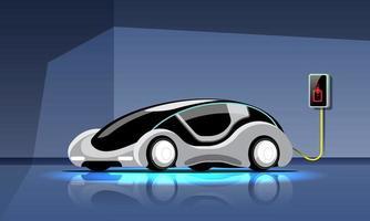 automóvel elétrico moderno está carregando na estação de energia da garagem vetor