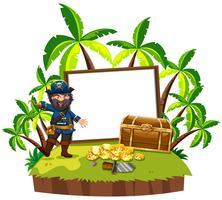Um pirata e placa em branco na ilha