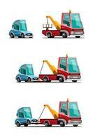 conjunto de carro de reboque, camionagem, ilustração vetorial de transporte automotivo vetor