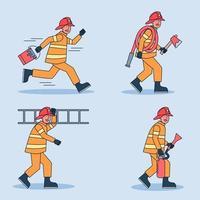 conjunto de caracteres de bombeiro. bombeiro extinguindo o fogo conjunto isolado no fundo branco. personagem de desenho animado plana de bombeiro. vetor