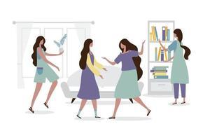 4 mulheres combinaram de se encontrar em casa. vetor