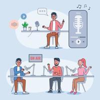 podcasts são populares entre pessoas que gostam de algo exótico, experiente e autodesenvolvido. vetor