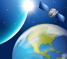 Satélite orbitting em torno da terra vetor