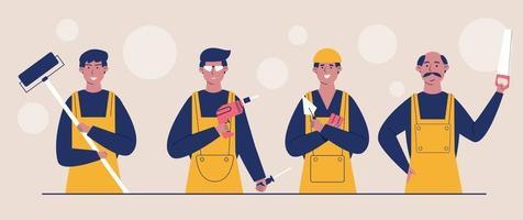 trabalhadores do canteiro de obras vestidos com coletes e capacetes de proteção. vetor