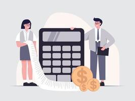 os funcionários do departamento financeiro estão calculando as despesas dos negócios da empresa. vetor