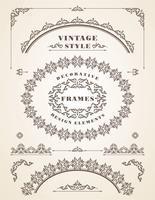 Conjunto de quadros Vintage retrô e bordas.