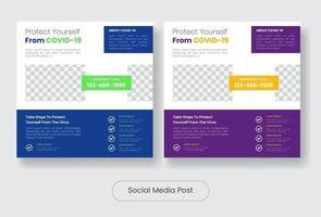 covid19 educação mídia social post banner conjunto de modelos vetor