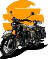 ilustração de motocicleta vintage em cor sólida vetor