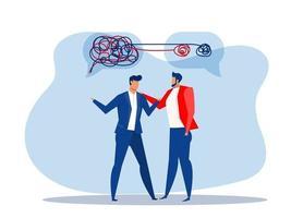empresário caos com ajuda, saúde mental ou psicoterapia, conceito de esquizofrenia, armadilha cognitiva, comunicação ou empatia, ilustração em vetor plana